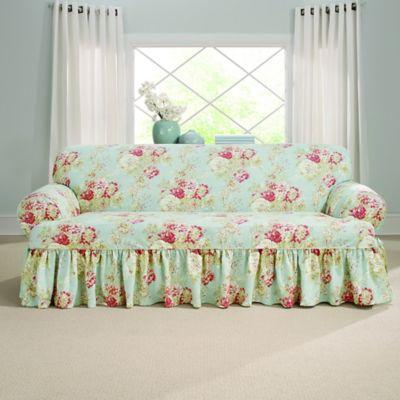 slipcover sofa bed bath beyond cleaning with baking soda sure fit® ballad bouquet by waverly™ t-cushion ...