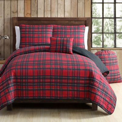 VCNY Tartan Plaid Quilt Set In RedGreen Bed Bath Amp Beyond