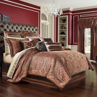 J Queen New York Bridgeport Comforter Set In Red Bed