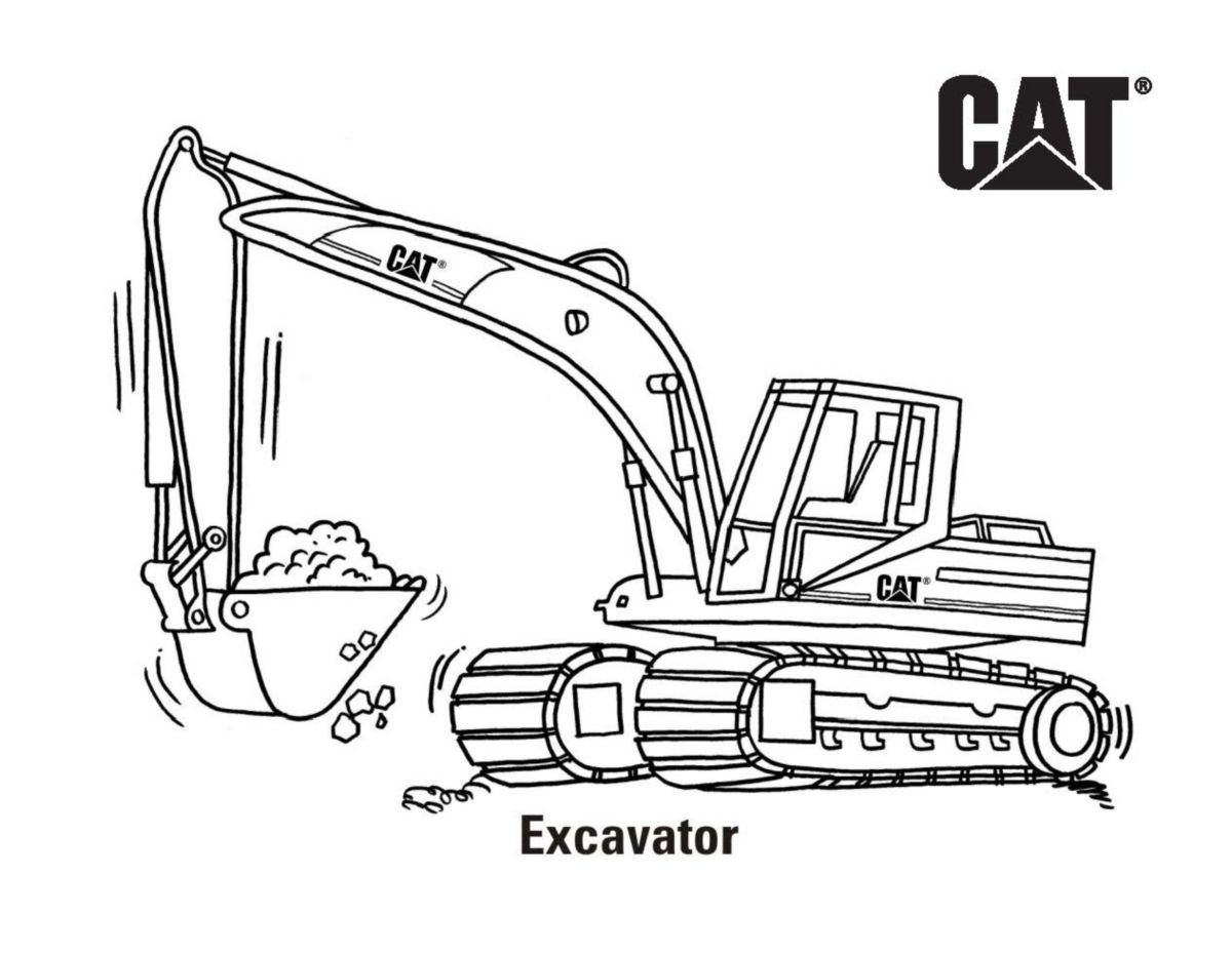 Cat Free Cat® Machine And Product Coloring Pages Caterpillar