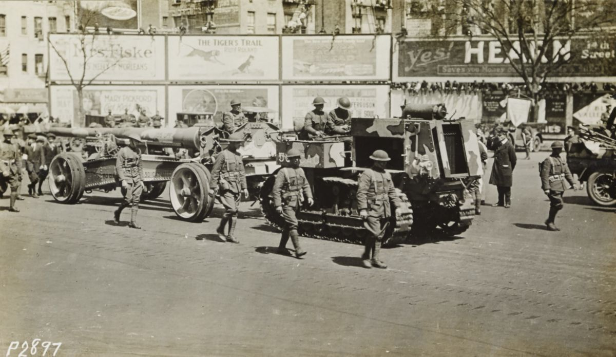 view an image of the first new york city armistice day parade featuring a holt caterpillar 5 ton  [ 1200 x 695 Pixel ]