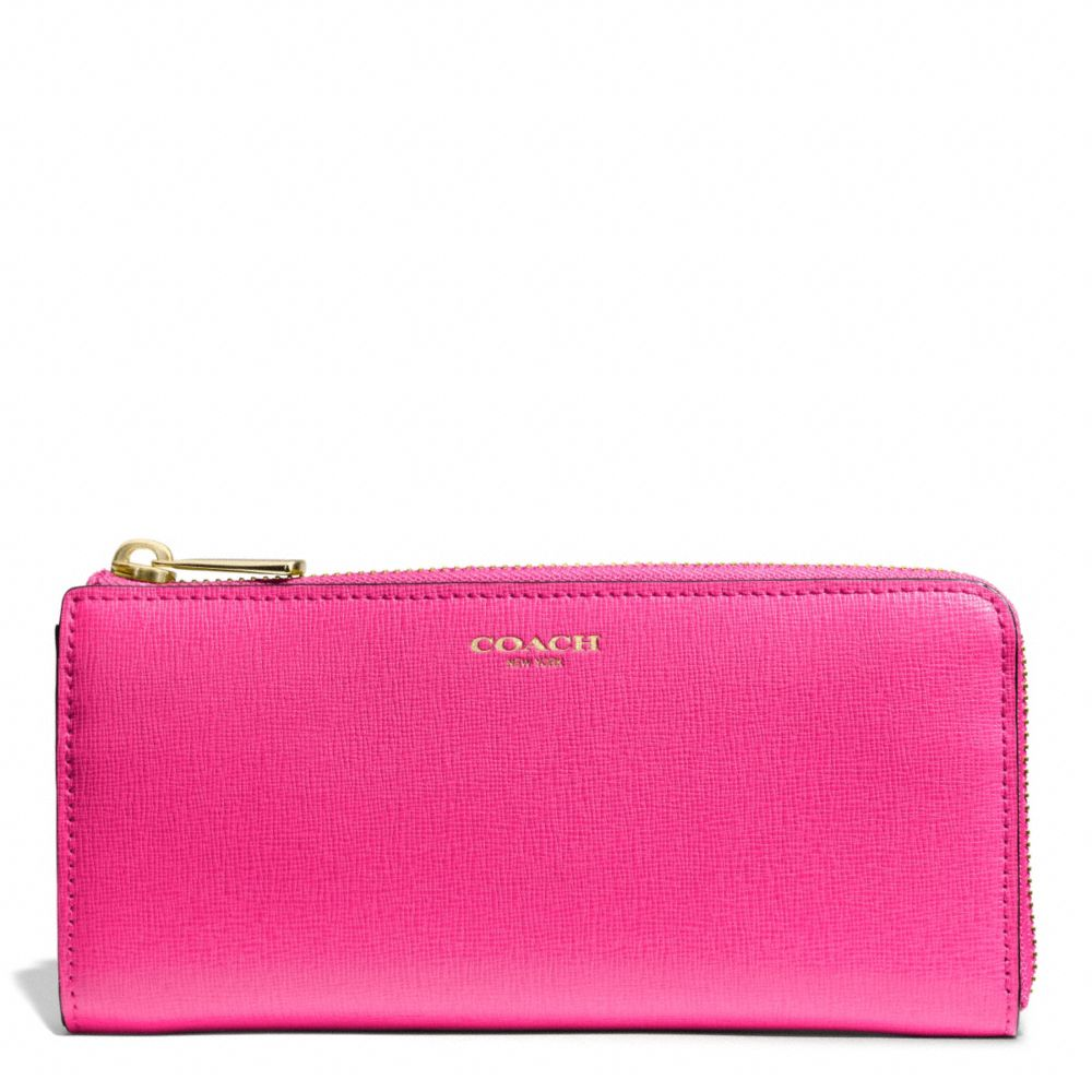 COACH F50923 - SAFFIANO LEATHER SLIM ZIP WALLET - LIGHT GOLD/PINK RUBY - COACH ACCESSORIES