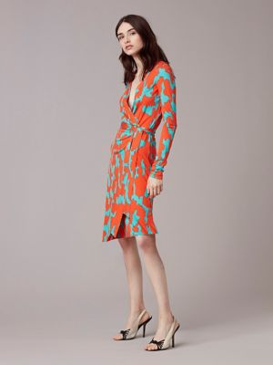 Diane Von Furstenberg Wrap Dress Long Sleeve