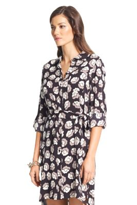 Prita Silk Shirt Dress In Snow Cheetah Large