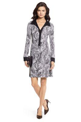 DVF Silk Floral Dress Black