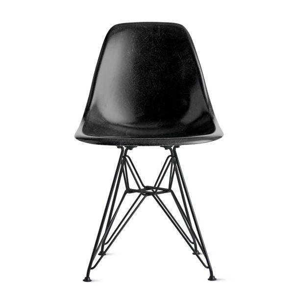 black side chair small swivel eames molded fiberglass wire base herman miller