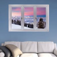 Bavarian Alps Winter Scene: Instant Window Wall Decal ...