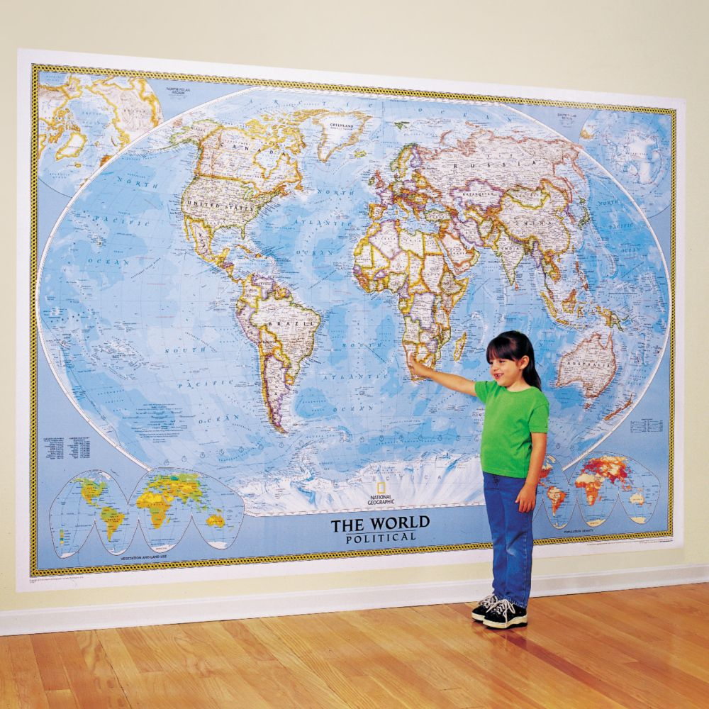 World Classic Wall Map Mural - National Geographic Store