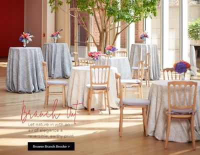 chair cover rentals peterborough covers at bed bath and beyond home party rental ltd let nature in with an air of elegance a reversible earthy print