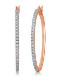 Rose-Gold Plated Diamond Hoop Earrings | Stage Stores