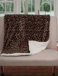 Lavish Home Fleece & Sherpa Leopard Print Throw Blanket ...