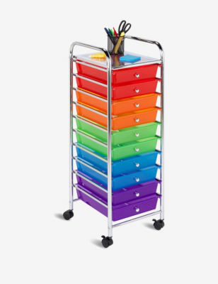 Honey- 10-drawer Multicolored Storage Cart Stage