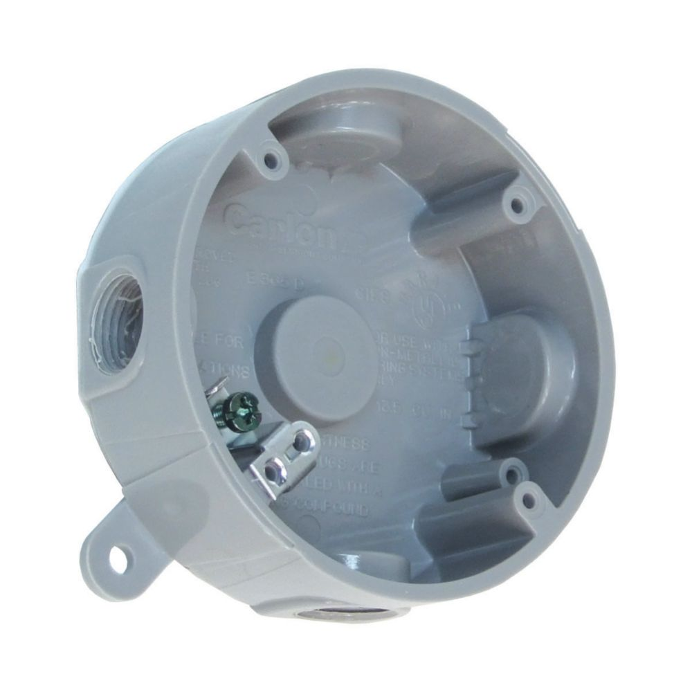 hight resolution of thomas betts weatherproof round pvc junction box grey the home outdoor electrical box wiring outdoor wiring box