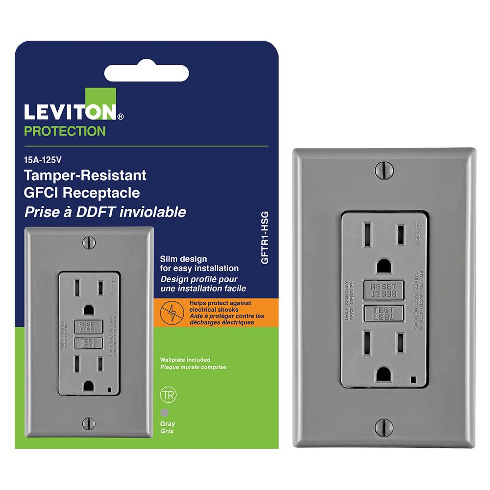decora 15 amp tamper resistant slim gfci receptacle outlet with wall plate [ 1000 x 1000 Pixel ]