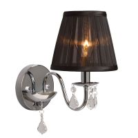 Hampton Bay Chrome Wall Sconce With Black Shade and ...