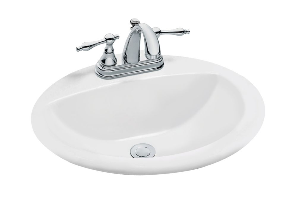GLACIER BAY Oval DropIn Bathroom Sink in White  The Home