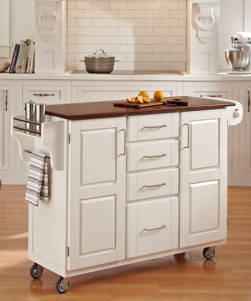 chariot de cuisine create a cart finition blanche avec plateau bois de