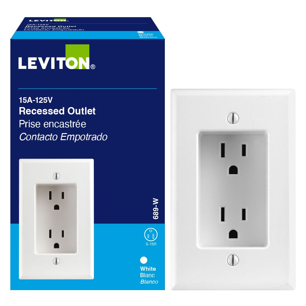 medium resolution of leviton duplex single gang recessed receptacle white