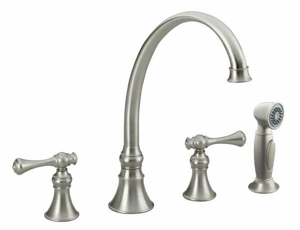 brushed nickel kitchen sink KOHLER Revival Kitchen Sink Faucet In Vibrant Brushed
