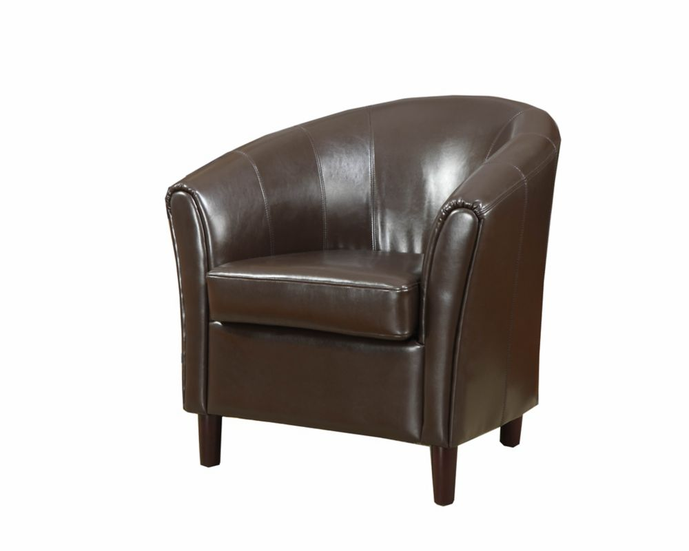 Wood Club Chair Barrel Modern Club Faux Leather Accent Chair In Brown With Solid Pattern
