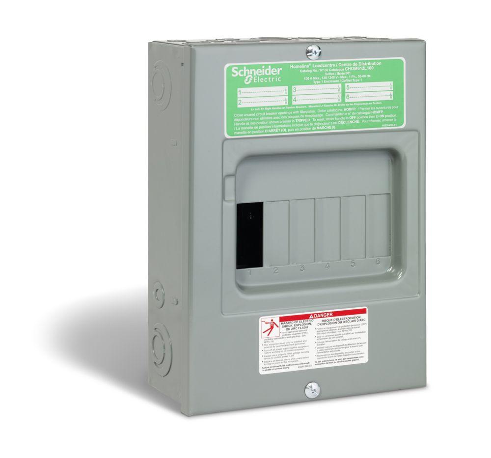 medium resolution of homeline 100 amp sub panel loadcentre with 6 spaces 12 circuits maximum