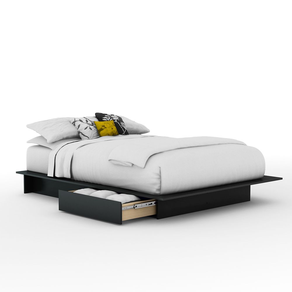 South Shore Queen Platform Bed With Drawers In Pure Black