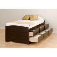Prepac Espresso Tall Twin Captains Platform Storage Bed ...