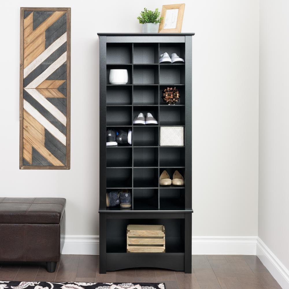 Prepac Black Tall Shoe Cubbie Cabinet