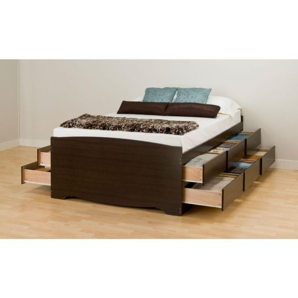 Prepac Espresso Tall Full Captains Platform Storage Bed With 12 Drawers Home Depot Canada