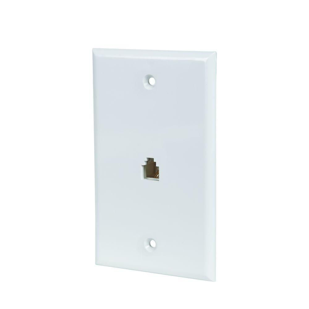 small resolution of commercial electric phone jack wall plate in white 5 pack