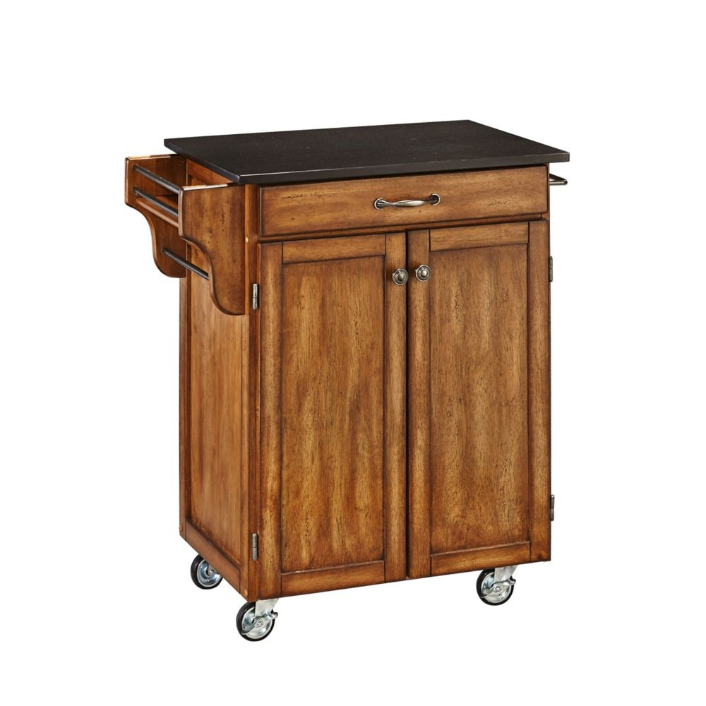rolling cart for kitchen colored sinks islands carts the home depot canada create a cottage oak with black granite