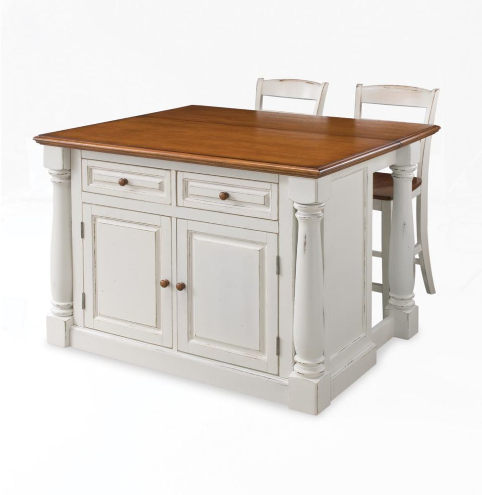 kitchen island home depot pot hangers islands carts the canada monarch with two stools antique white