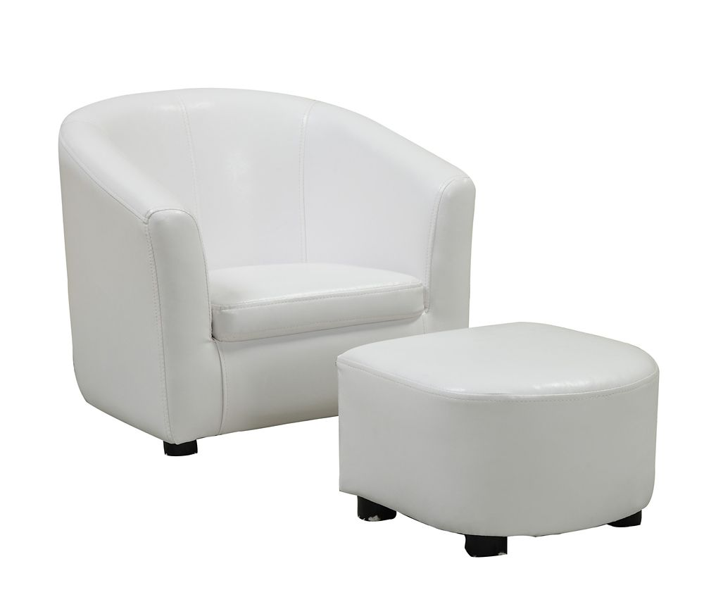 white leather accent chair canada recycled adirondack chairs the home depot juvenile 2 pcs set look fabric