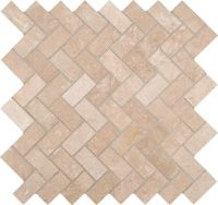 Travertine Herringbone 12 Inch x 12 Inch x 10mm Honed ...