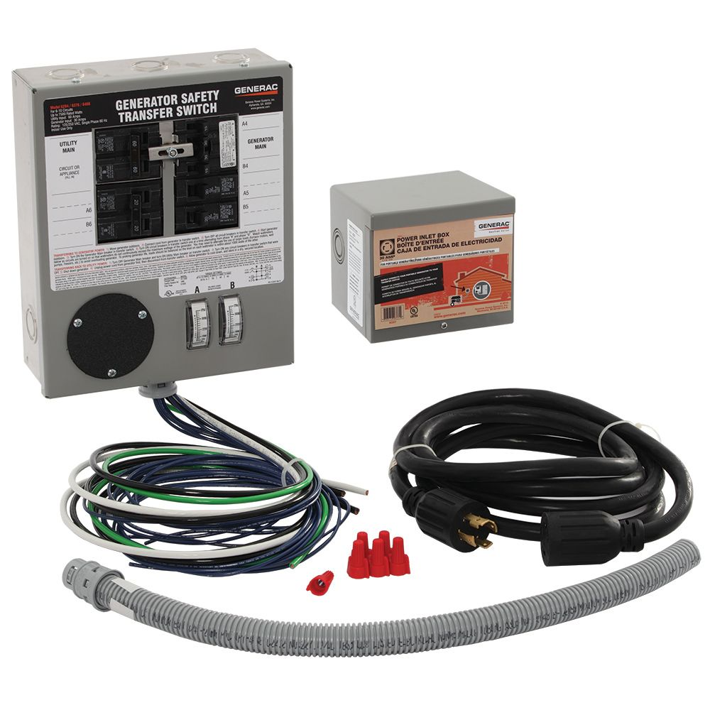 generac 30 amp indoor generator safety transfer switch kit for 6 10 circuits [ 1000 x 1000 Pixel ]