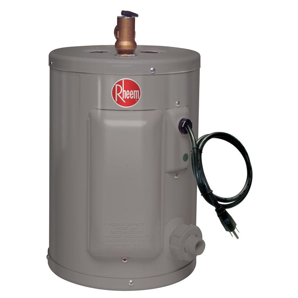 rheem point of use 2 imperial gal electric water heater with 6 year warranty  [ 1000 x 1000 Pixel ]