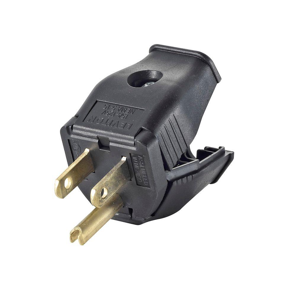 leviton 2 pole 3 wire grounding plug clamptite hinged design 15a 125v nema 5 15p black thermoplastic  [ 1000 x 1000 Pixel ]