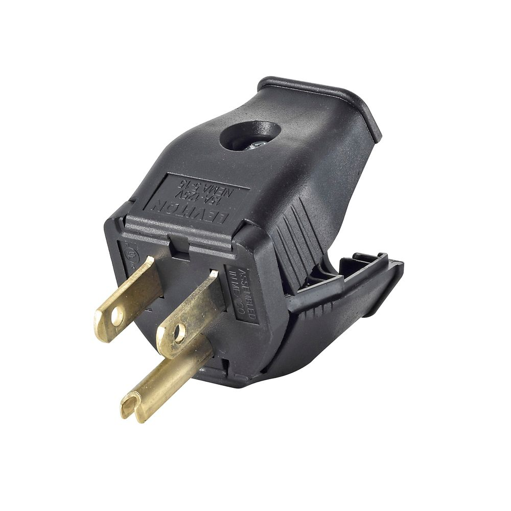 hight resolution of leviton 2 pole 3 wire grounding plug clamptite hinged design 15a 125v nema 5 15p black thermoplastic
