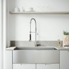 36 Inch Kitchen Sink Outdoor Bbq Vigo All In One Farmhouse Apron Front Stainless Steel Single Bowl With Chrome Faucet