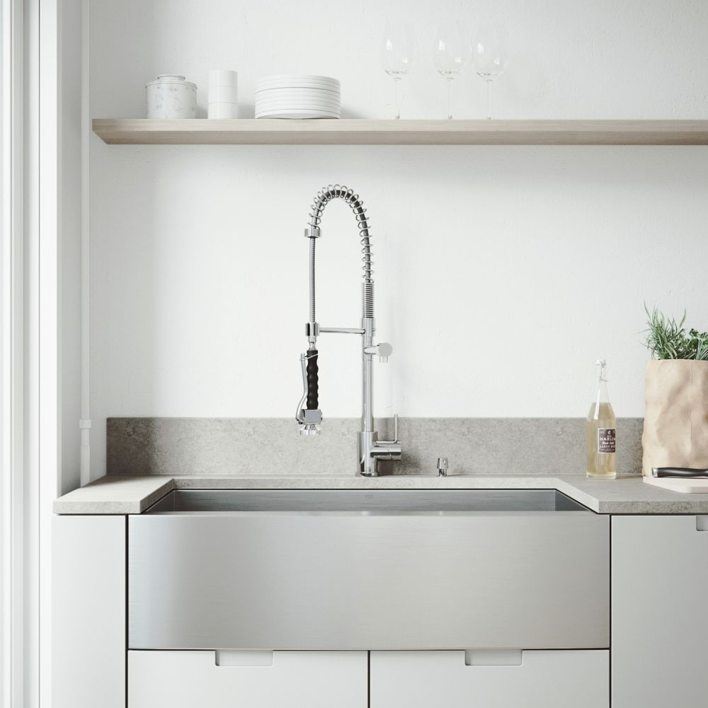 36 inch kitchen sink makeover vigo all in one farmhouse apron front stainless steel single bowl with chrome faucet