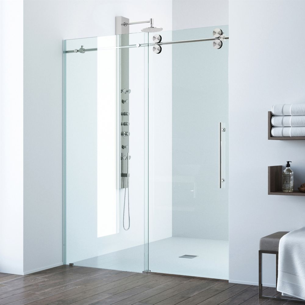 Vigo Clear and Stainless Steel Frameless Shower Door 72 Inch 38 Inch glass  The Home Depot Canada