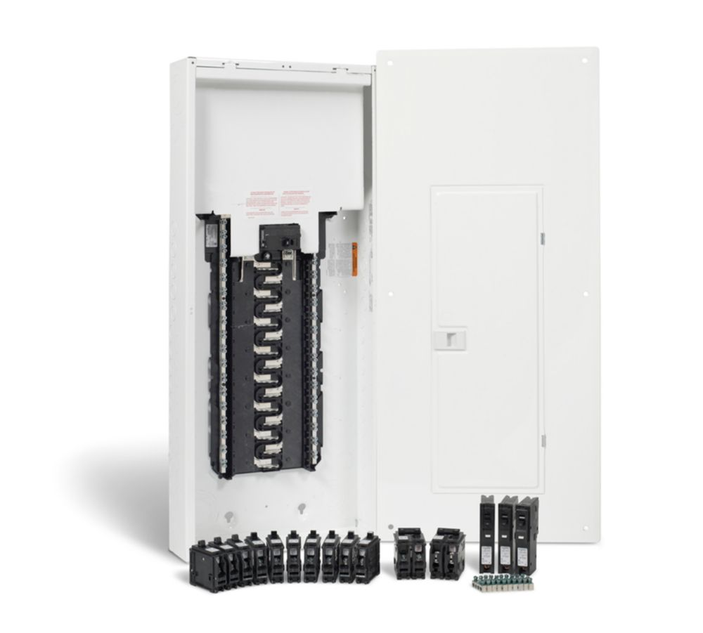 homeline 100 amp 30 spaces 60 circuits max arc fault plug on neutral panel package with breakers [ 1000 x 901 Pixel ]