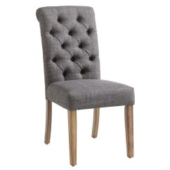 Upholstered Dining Chairs Canada Pier 1 Swivel Chair The Home Depot Melia Wood Grey Parson Armless With Fabric Seat Set Of 2