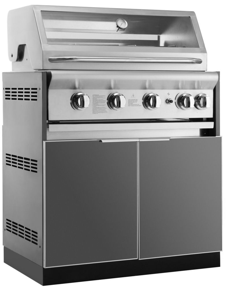 bbq kitchen best name brand appliances outdoor kitchens built in bbqs cabinets more the home aluminum slate 33 inch insert grill 33x34 8x23 cabinet
