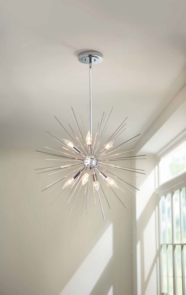luminaire suspendu metallique en forme d etoile 24 po chrome poli