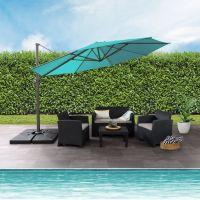 Hampton Bay 11 Ft. Offset Patio Umbrella with Solar LED ...