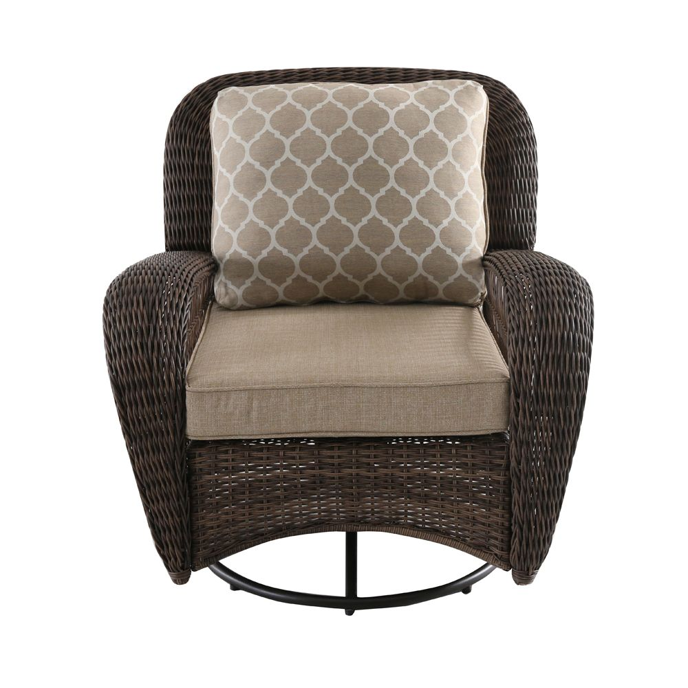 Cushions For Glider Chairs Beacon Park Wicker Outdoor Patio Swivel Lounge Chair With Toffee Cushions