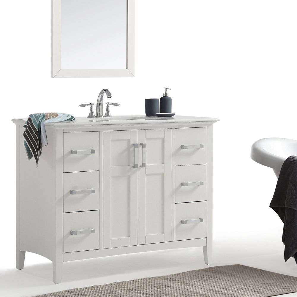 Simpli Home Winston 42inch Bath Vanity with Quartz Marble Top  The Home Depot Canada