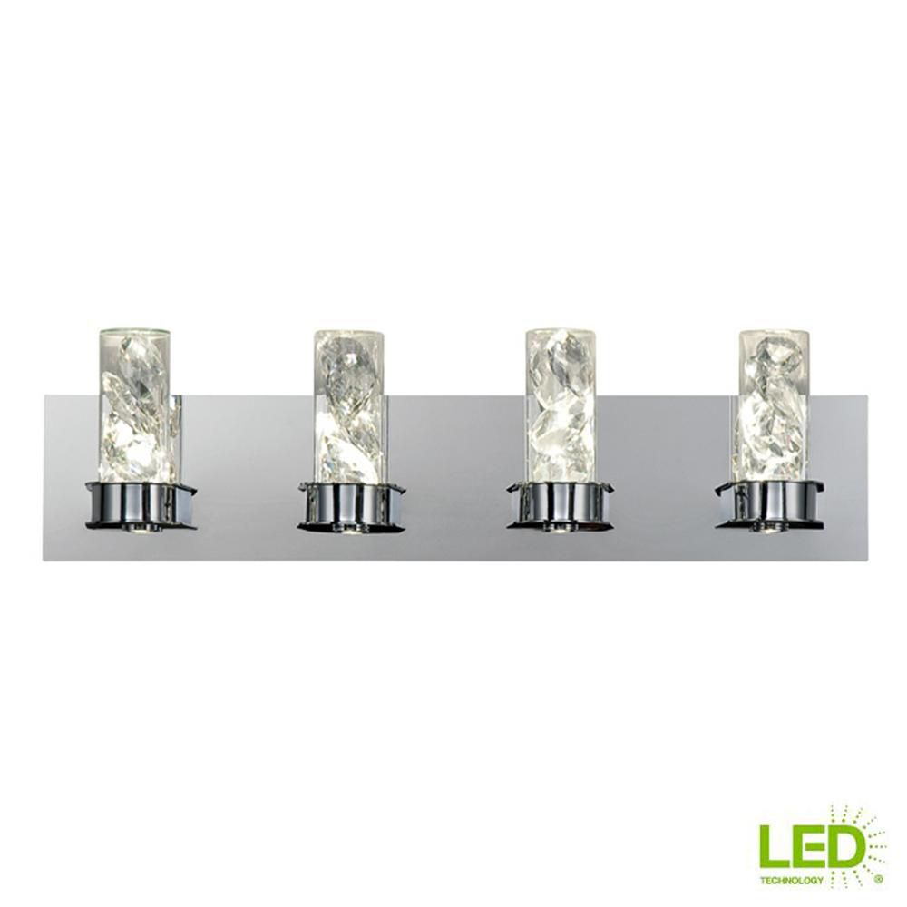 Bathroom Canisters Cusseta 4 Light Chrome Integrated Led Vanity Light With Crystal Glass Canisters