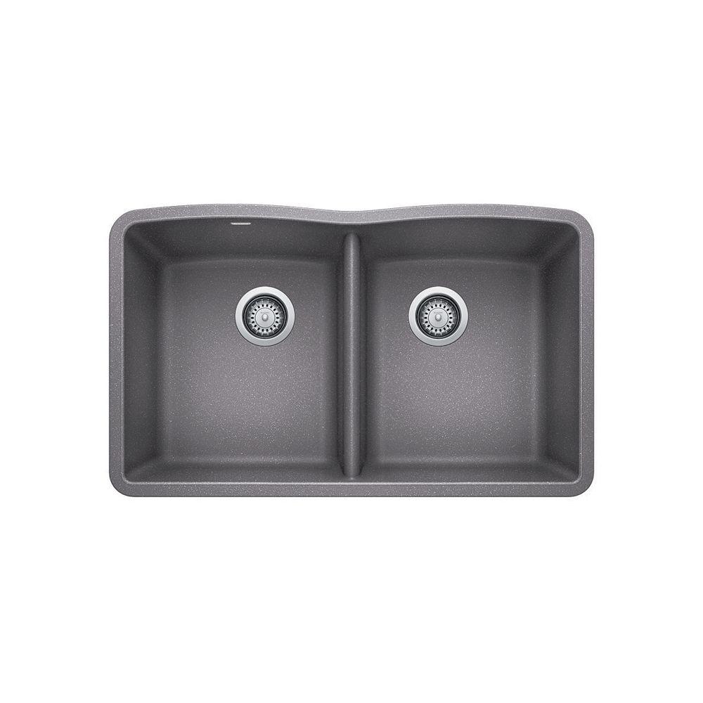 gray kitchen sink amazon cabinets blanco diamond u 2 undermount metallic silgranit drag image to explore